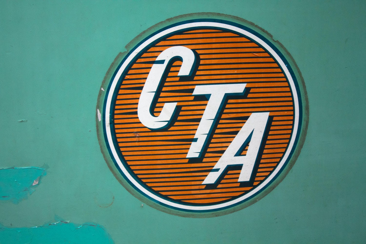 Vintage photograph CTA Chicago bus and train logo - green and orange - 8x10 Fine Art Photograph - etsy wall art - chicago art