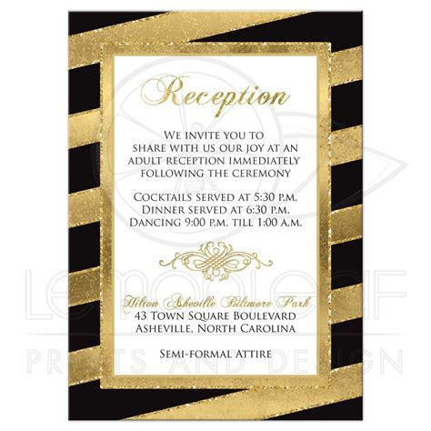 Bold Stripes Wedding Enclosure Card   SIMULATED Glitter