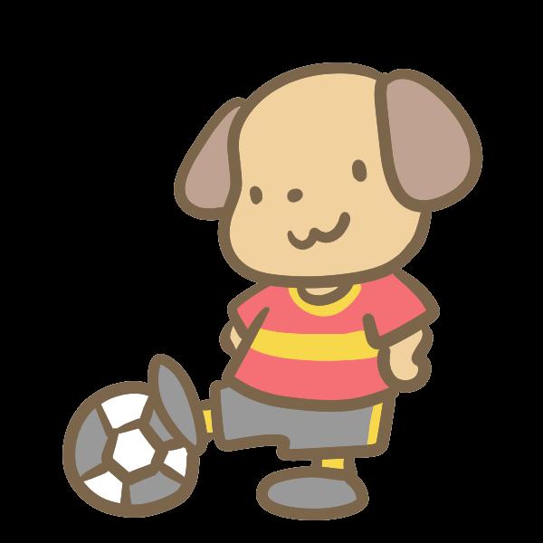 サッカーをする犬赤のイラスト かわいいフリー素材が無料の