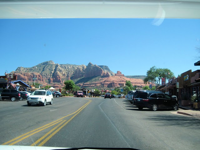 Town of Sedona through the windshield 20130617