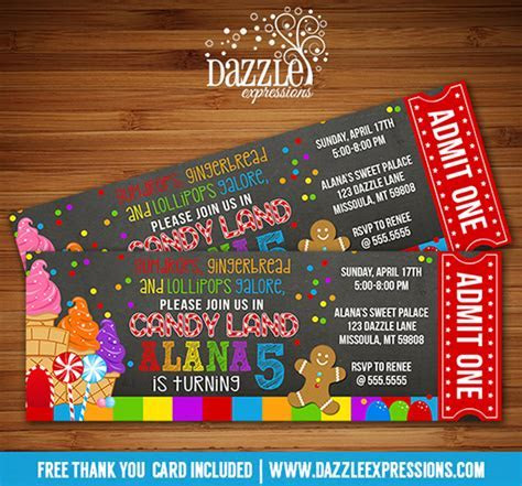Printable Candy Land Chalkboard Ticket Birthday Invitation