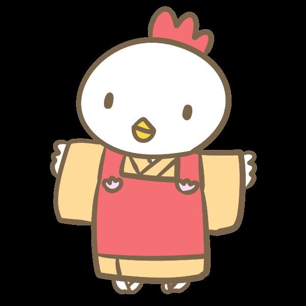 着物の鶏のイラスト かわいいフリー素材が無料のイラストレイン