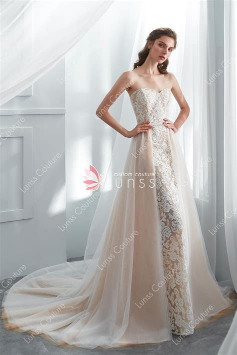 Champagne Strapless Lace Sheath Wedding Gown with