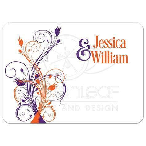 Wedding Invitation   Purple, Orange, White Floral, Butterflies