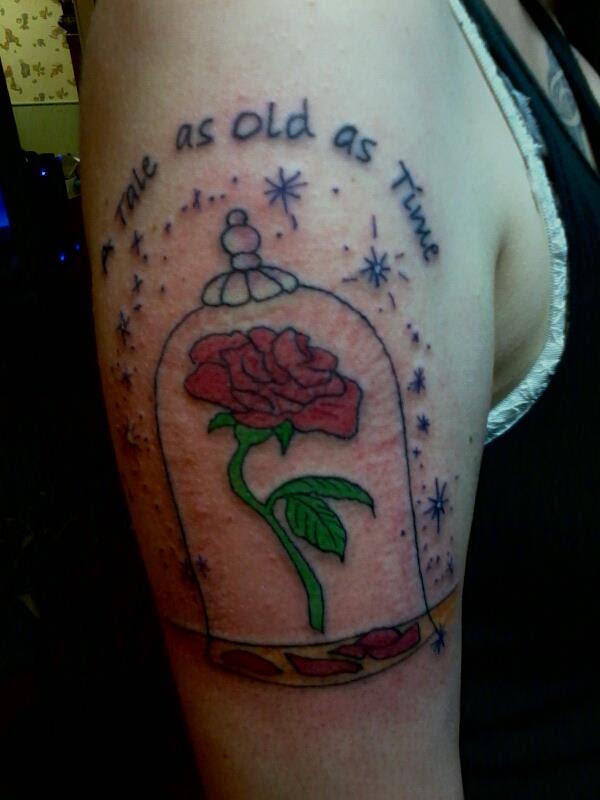 Enchanted Rose And Quote Tattoo Tattoomagz