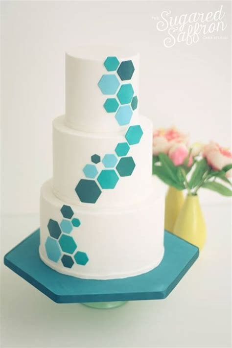 teal hexagon wedding cake   Cakes and decorations in 2019