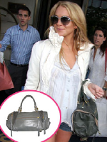 Lindsay Lohan wearing a Rebecca Minkoff handbag