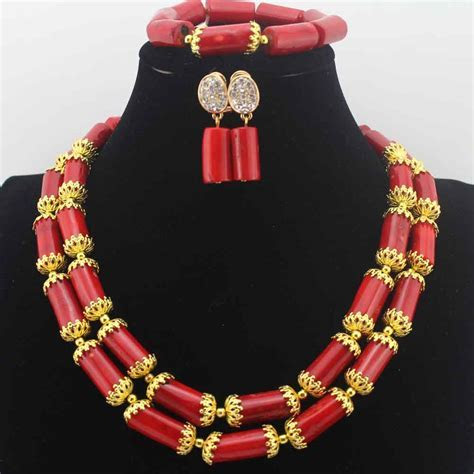 African Red Coral Beads Jewelry Set Christmas New Design