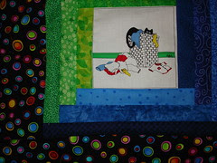 a closer look at the rainbow log cabin quilt block and border