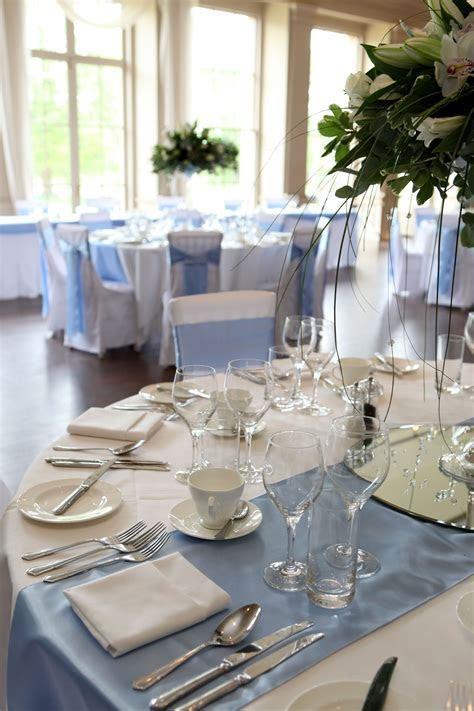 Sky blue table runner and sashes Stubton Hall www