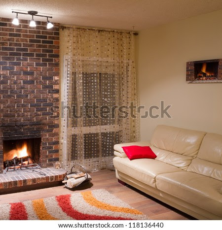 Interior Design Of Living Room In A New House With Fireplace Stock ...