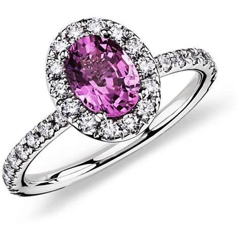 Pink Sapphire and Diamond Ring in 18k White Gold (7x5 mm