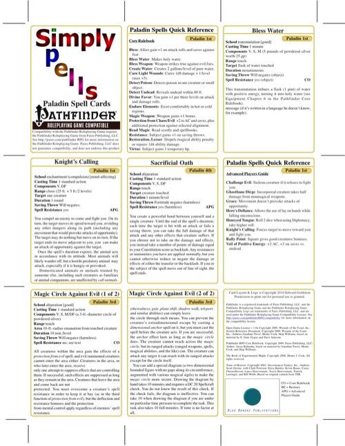 paizo.com - Simply Spells: Paladin Spell Cards (PFRPG) PDF