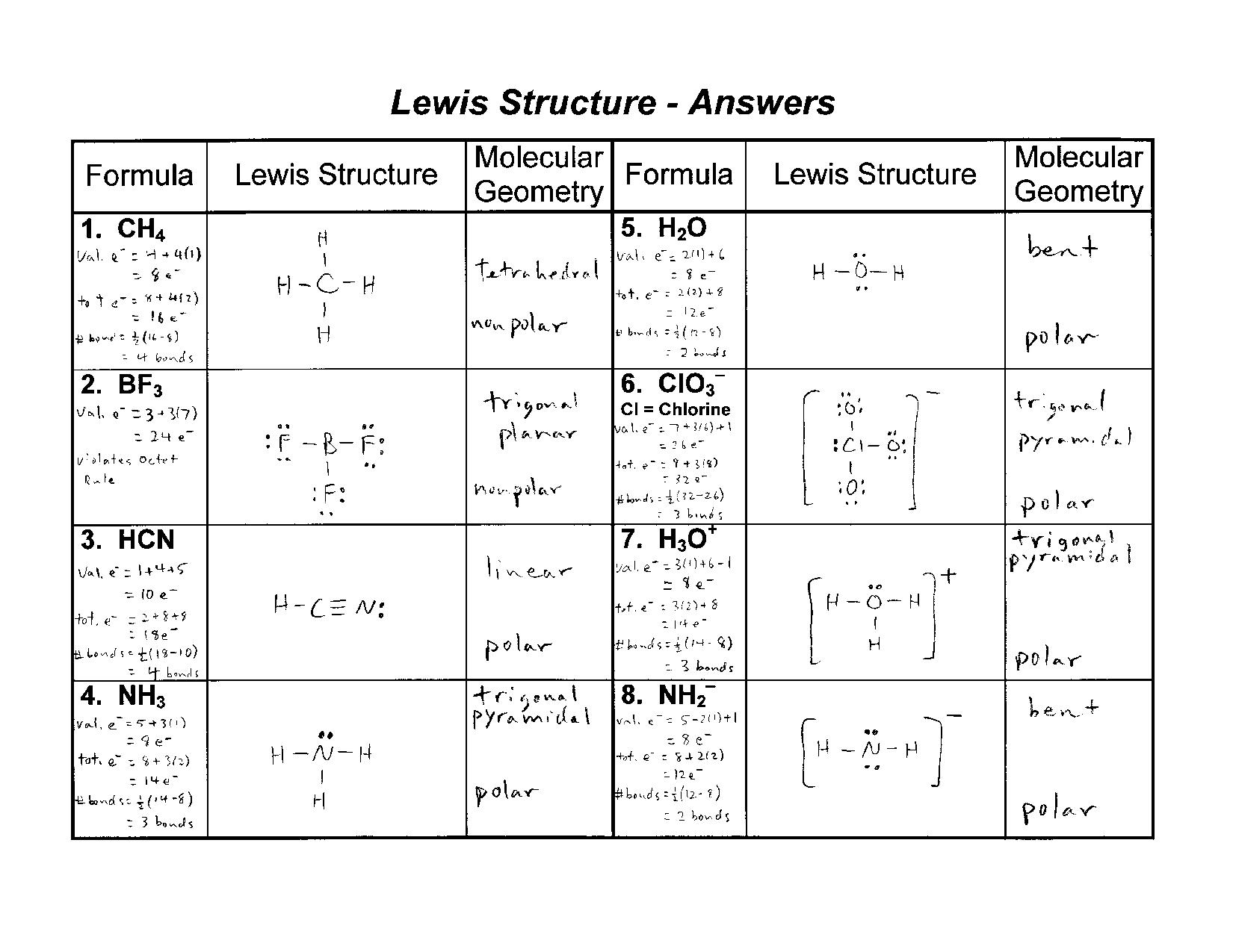Worksheet Lewis Structure Answers  Kidz Activities