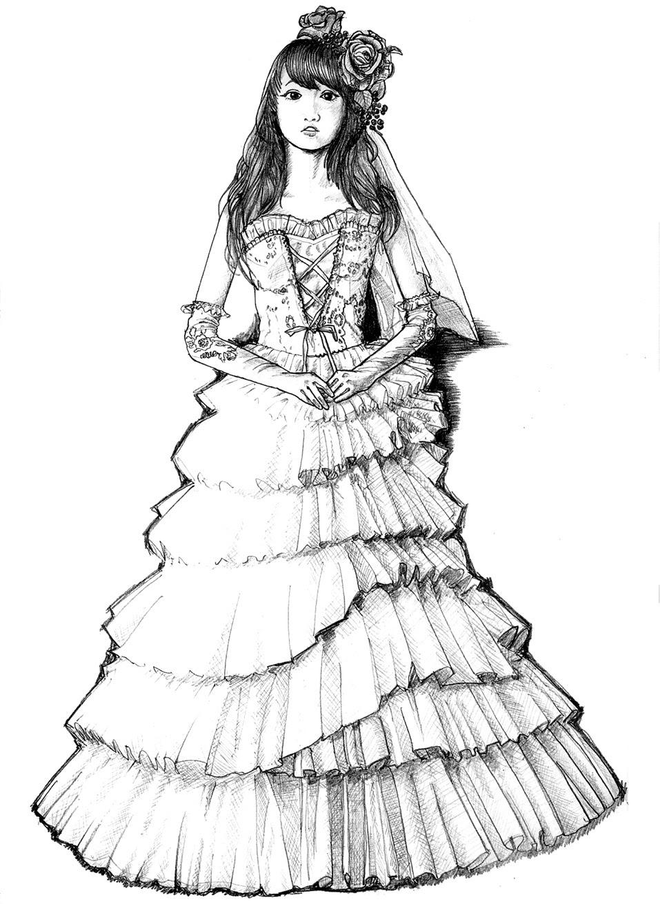 Lisse Tulips Wedding Dress 2drawing 008