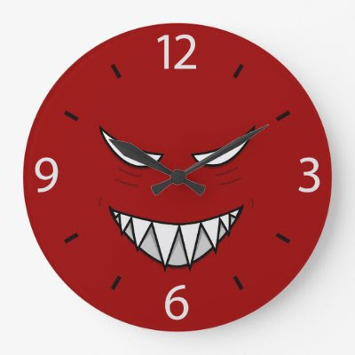 Grinning Face With Evil Eyes Red Wall Clocks