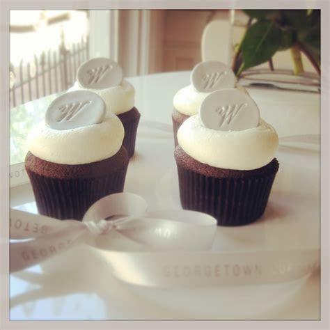 Georgetown Cupcake wedding cupcakes with silver monogram
