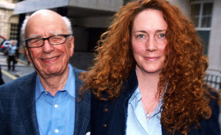Rebekah Brooks (R), and Rupert Murdoch. Click image to expand.