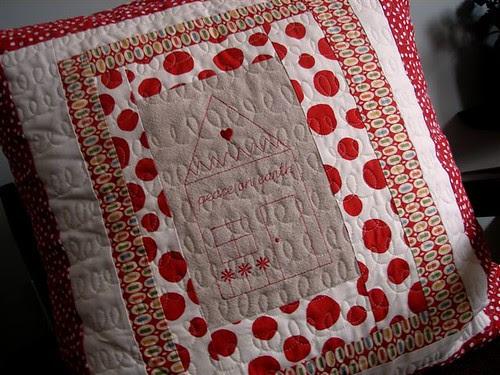 Redwork on pillow