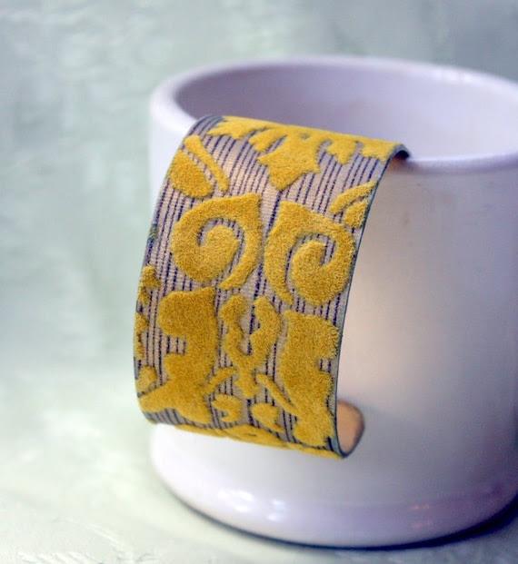 Gold Foil and Flocked Vintage Wallpaper Cuff Bracelet