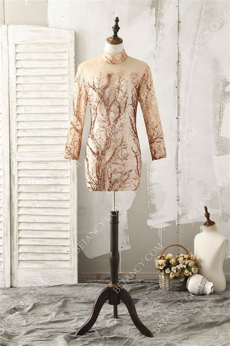 Tree Branch Shape Gold Sequin Long Sleeve High neck