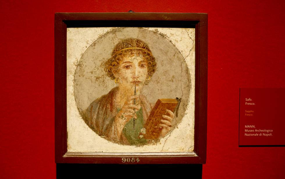 Fresco que representa a Safo, hallado en las ruinas de Pompeya.
