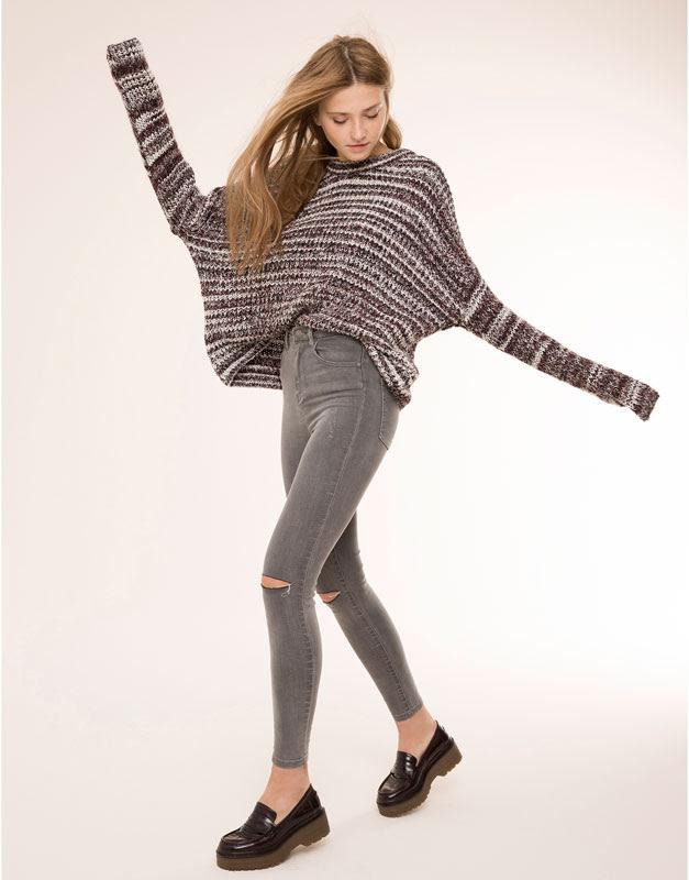 Pull&Bear - mujer - jeans - jeans skinny tiro alto - gris - 09684312-I2015