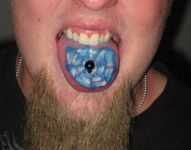 A funny tongue tattoo, with a piercing!