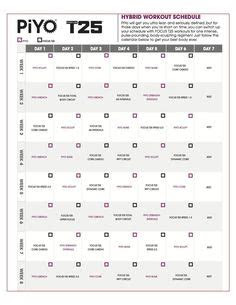 printable piyo calendar  workout schedule health