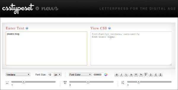 CSSTypeset - Herramienta web para trabajar con tipografias