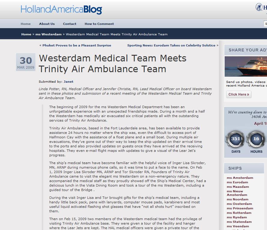 Westerdam Meets Trinity Air Ambulance