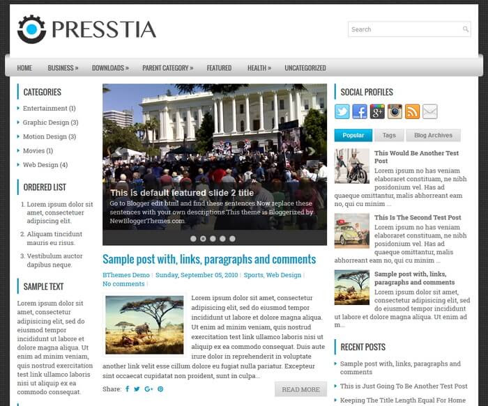 Presstia Blogger Template