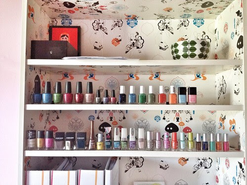 nailpolish collection in pink office
