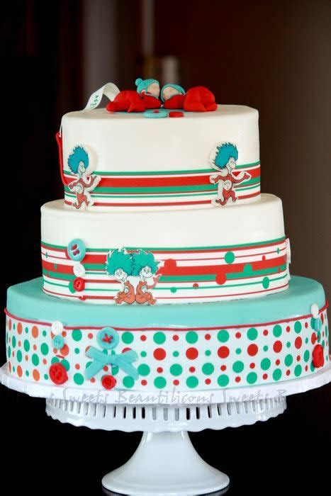 Dr. Seuss   Thing 1 and Thing 2 Baby Shower Cake   cake by
