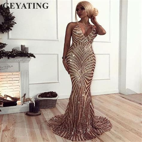 Sexy Rose Gold Sequin Backless Prom Dresses Mermaid 2019