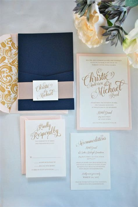 Navy Blue, Gold and Blush Pocket Wedding Invitation