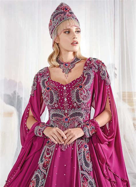 Fuchsia Turkish Evening Gowns Pleated Waisted Maxi Dress