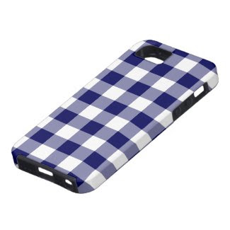 Navy and White Gingham Pattern iPhone SE/5/5S Case