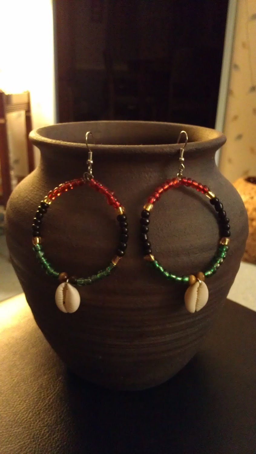 "Red, Black, Green, Yellow, and Tiger Eye Beaded Hoop Earrings with Cowrie Shells : ""Pride"""