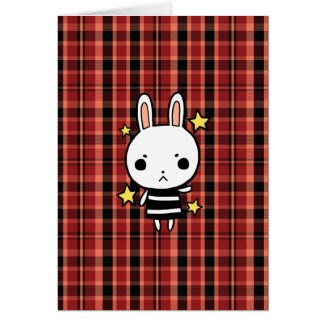 Cute Plaid Background Bunny Rabbit Card card