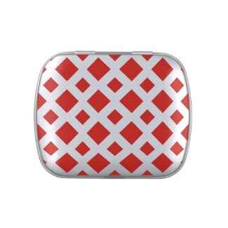 Red Diamonds on White Candy Tins