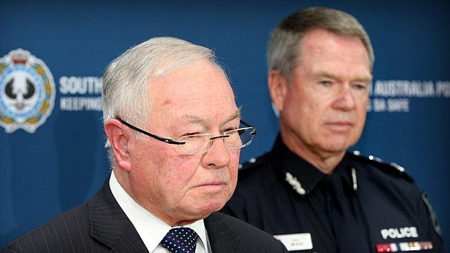 PROBE: Independent Commissioner Against Corruption Bruce Lander (left) with Police Commis