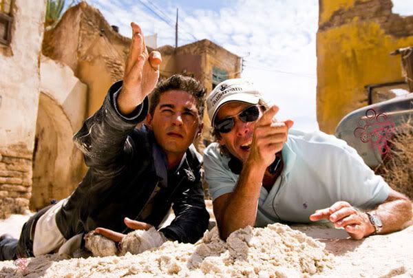 Shia LaBeouf gets directions from TRANSFORMERS helmer, Michael Bay.