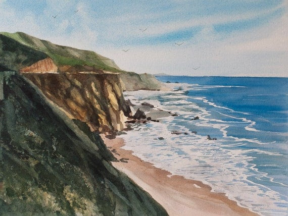 Pacific Rim // Beach // Watercolor // Big Sur Coast // California