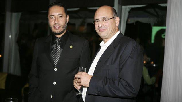 Saadi Kadhafi, fils de Mouammar Kadhafi, en compagnie de Riadh Ben Aïssa, alors vice-président à la division construction de SNC-Lavalin (photo prise à Toronto le 14 septembre 2009)