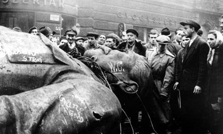 Toppled statue of Joseph Stalin