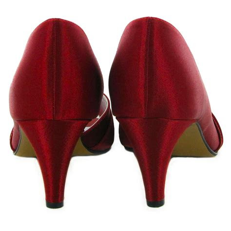 ladies burgundy peep toe satin kitten womens wedding