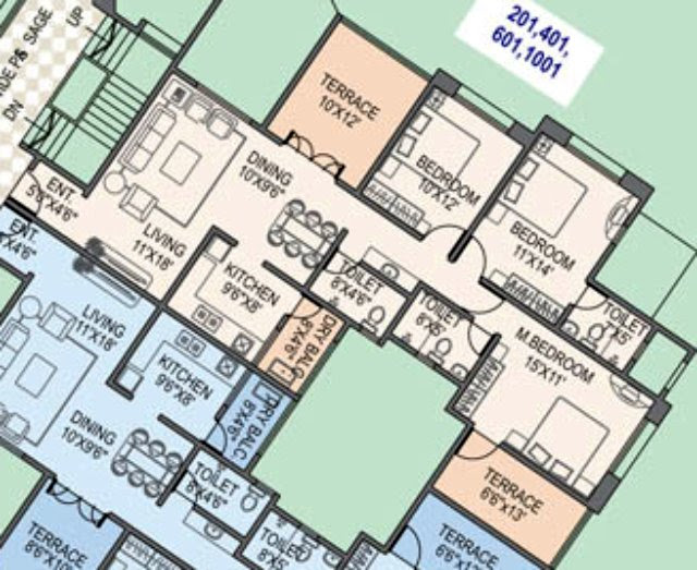 Paranjape Schemes' Gloria Grace E Wing 3 BHK Flat 1060 Carpet + 206 Terrace for Rs. 77.23