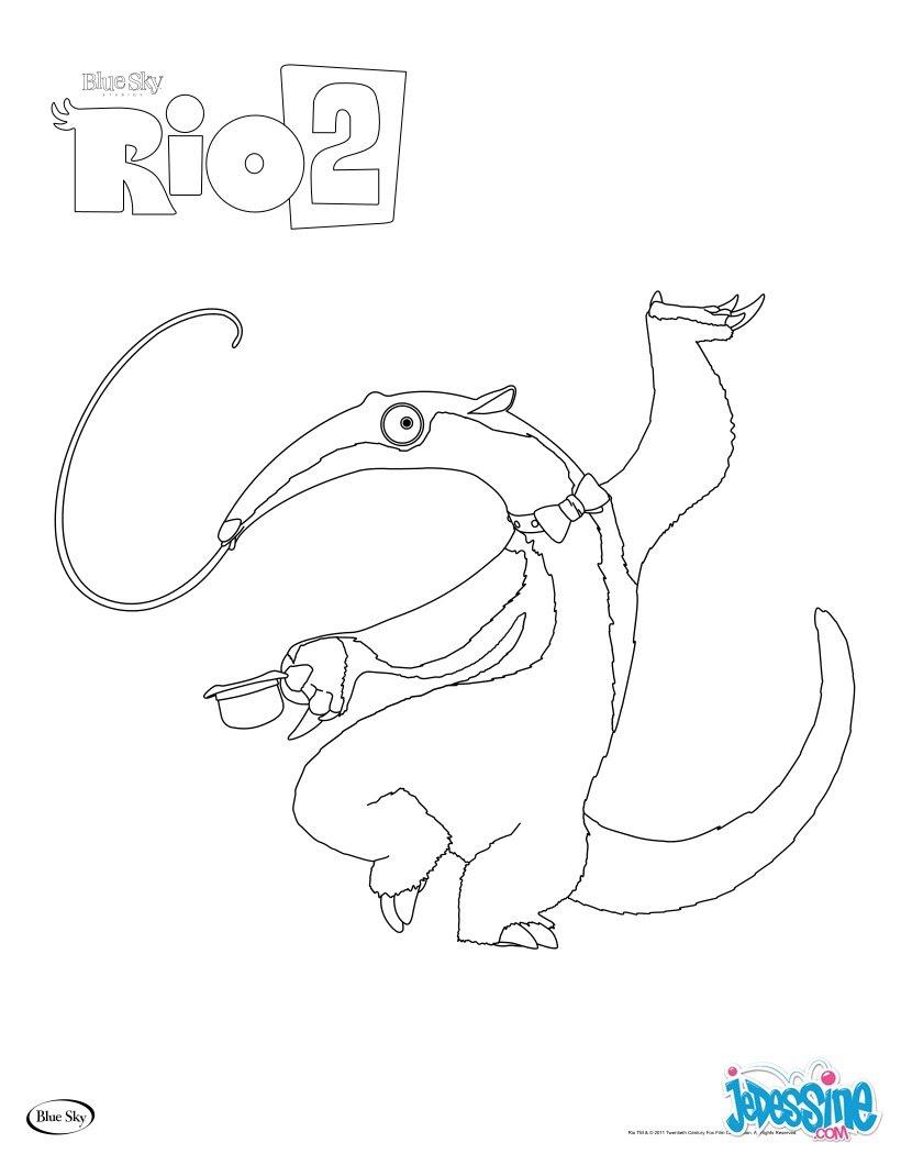 Coloriage Charlie le fourmilier de RIO 2
