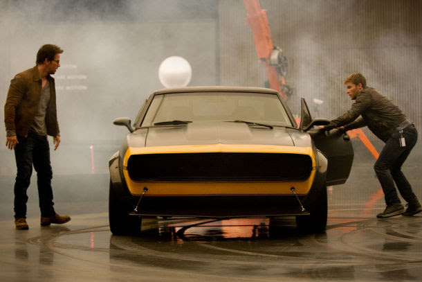 Mark Wahlberg as Cade Yeager and Jack Reynor as Shane Dyson with Bumblebee (a modified 1967 Camaro SS).